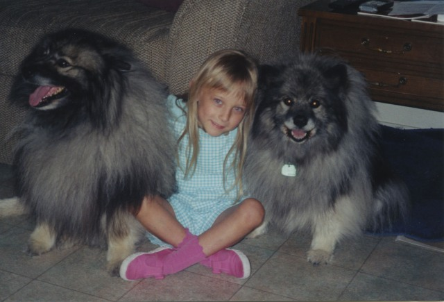 Nabisco and Dawn, our keeshond dogs