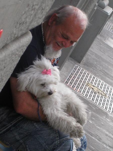 Man  white dog close up