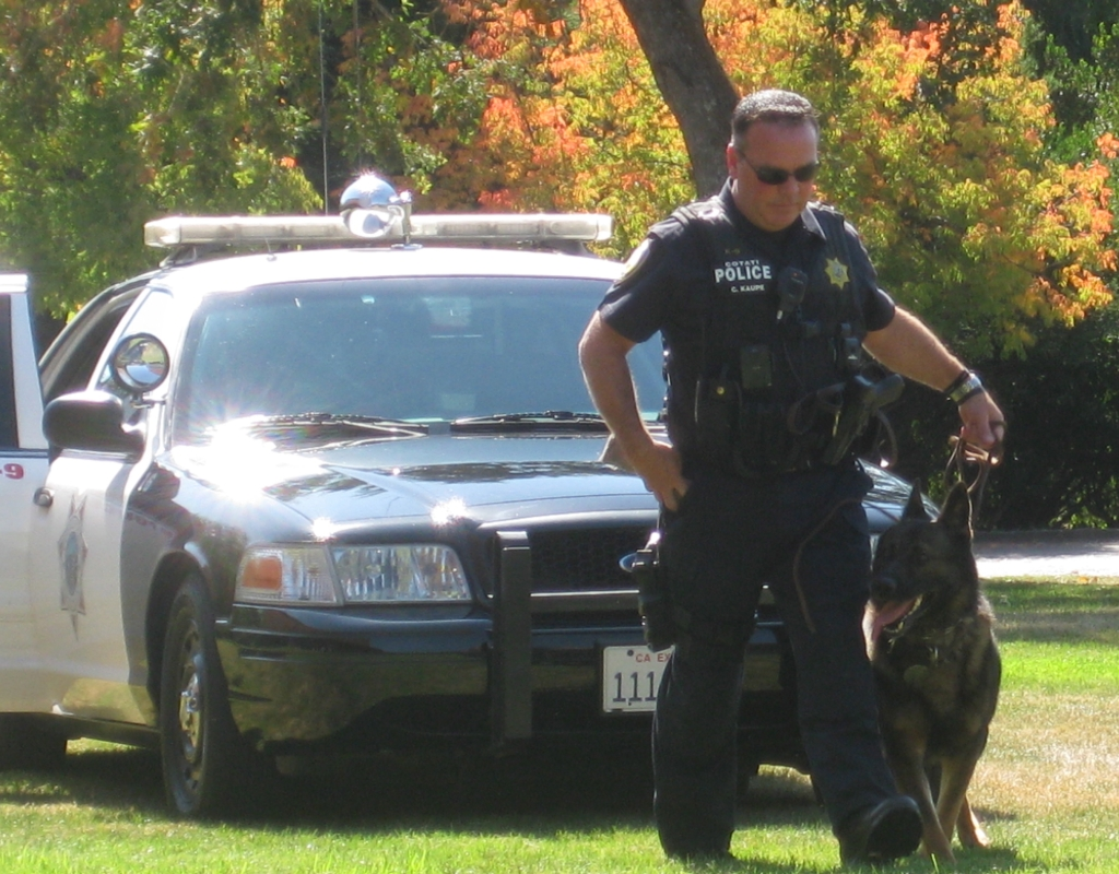 K-9 Team demonstrate for crowd.